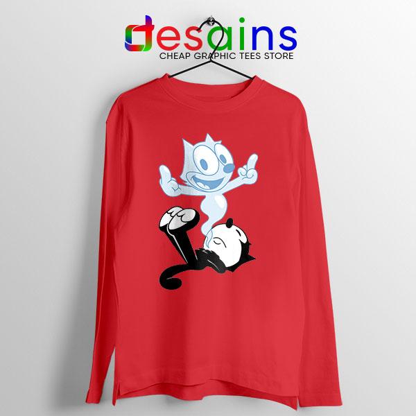 RIP the Cat Felix Red Long Sleeve Tee Cartoon Characters