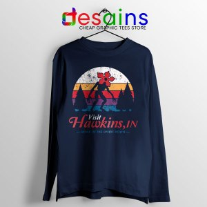 Visit Hawkins Stranger Things Navy Long Sleeve Tee The Upside Down