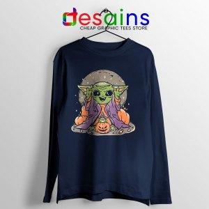 Funny Pumpkin Baby Yoda Halloween Navy Long Sleeve Tee