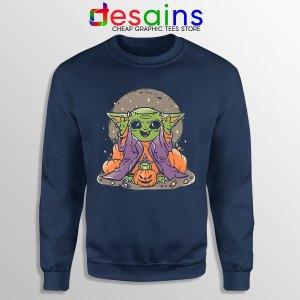 Funny Pumpkin Baby Yoda Halloween Navy Sweatshirt