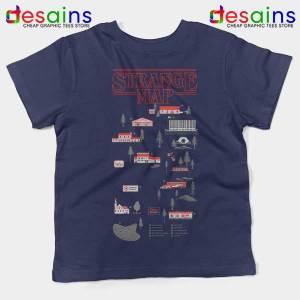 Stranger Things 4 Map Navy Kids Tee Hawkins Merch