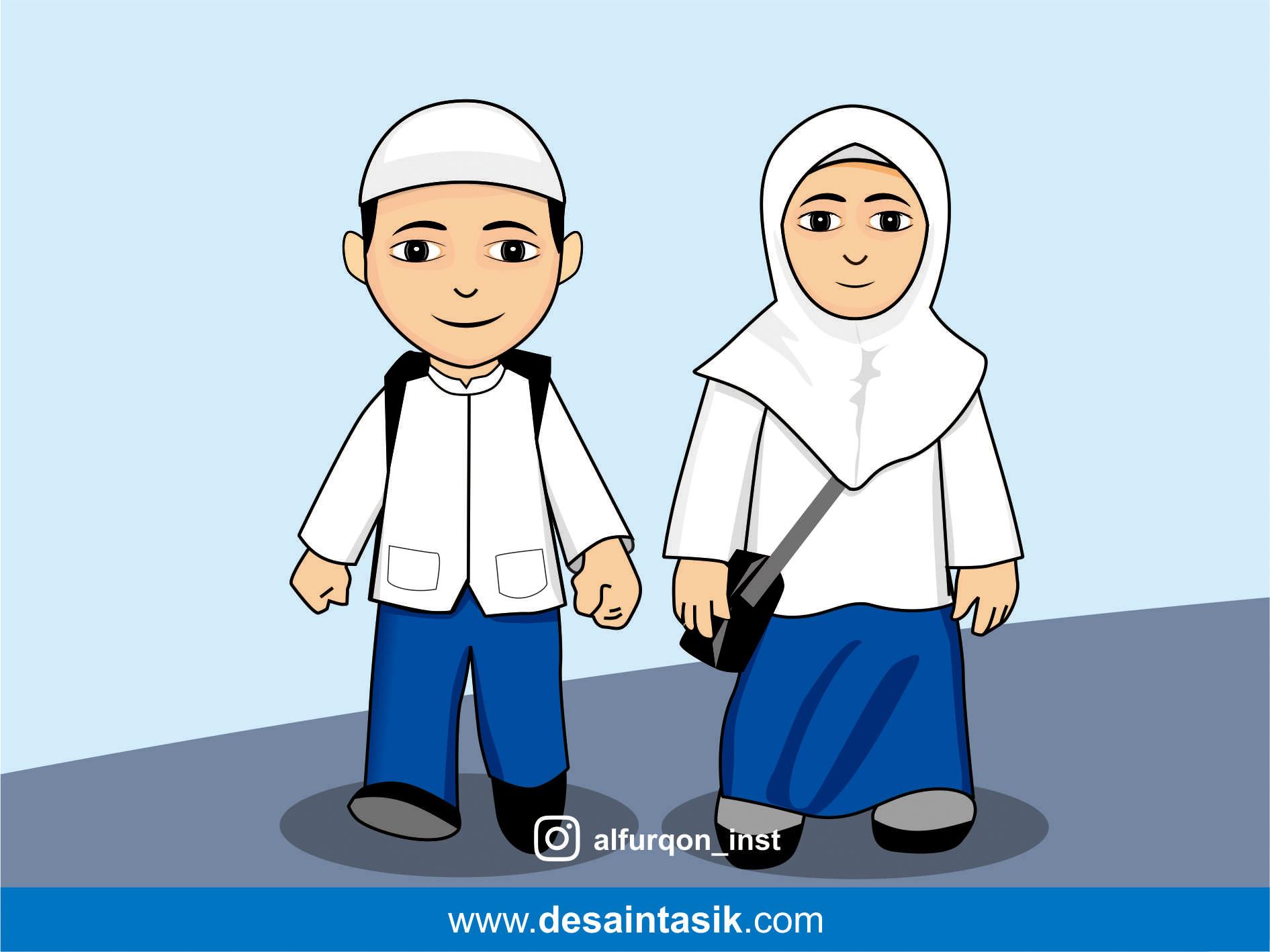 Vector Kartun Anak Muslim Hijabfest