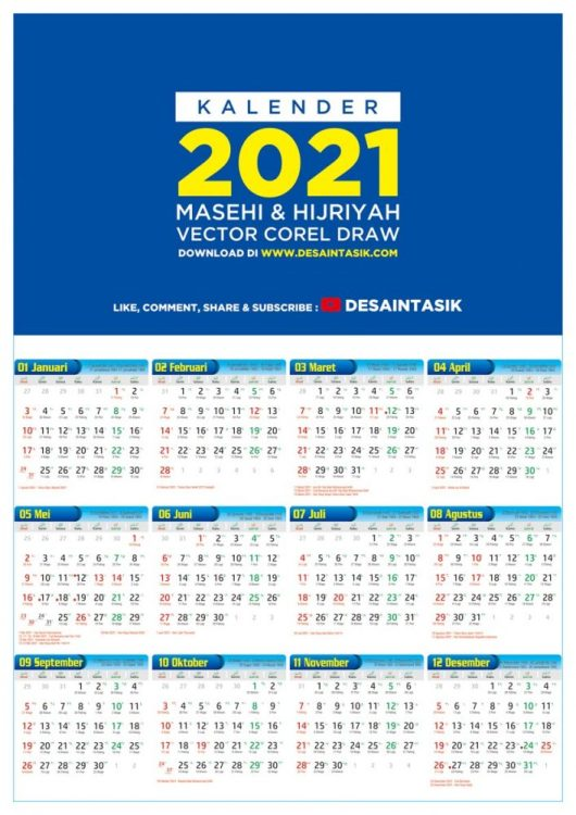 Kalender 2021 masehi dan Hijriyah