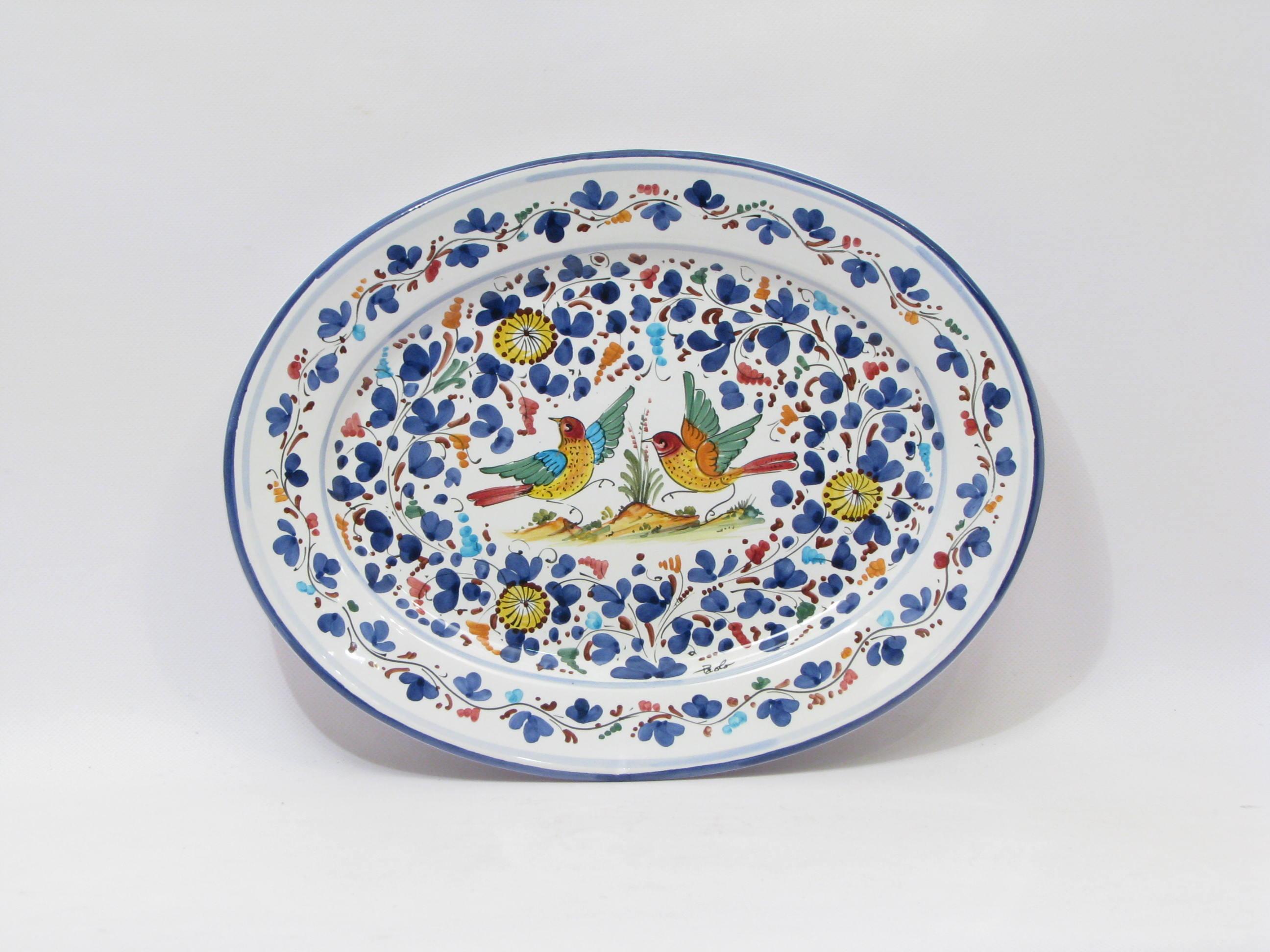 Oval Tray cm.38 Blue Arabesque Deruta - De Sanctis 1890