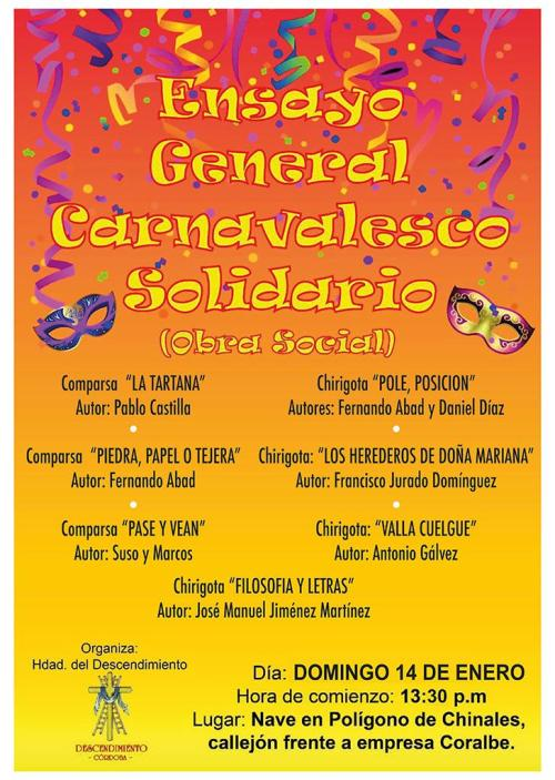 Ensayo General Carnavaleasco Solidario Descendimiento Cordoba