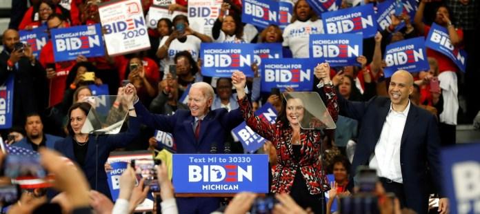 Joe Biden with Kamala Harris, Gretchen Whitmer, Cory Booker