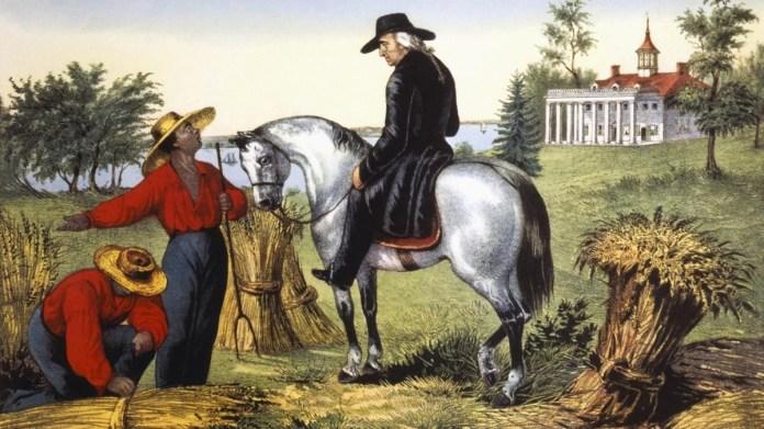 George Washington speaking with his slaves at Mount Vernon, 1797.