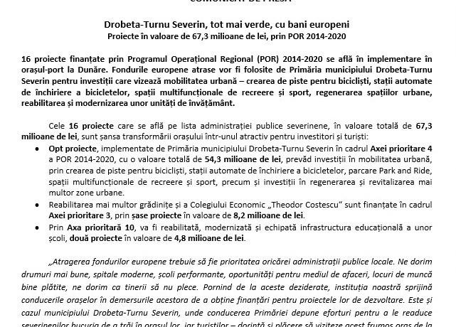 Drobeta-Turnu Severin, tot mai verde, cu bani europeni Proiecte în valoare de 67,3 milioane de lei, prin POR 2014-2020
