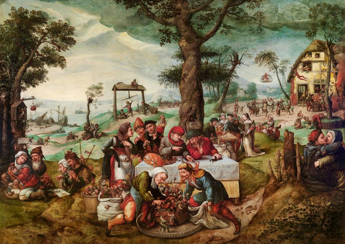Burla de la locura humana o Comercio tonto, por Frans Verbeeck, h. 1550, óleo sobre lienzo, 135 x 188 cm.