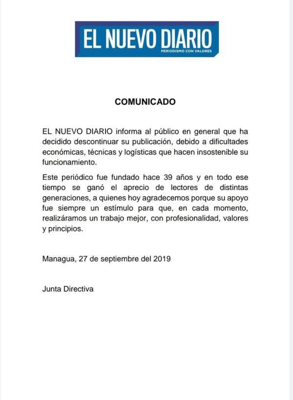 Comunicado cierre El Nuevo Diario