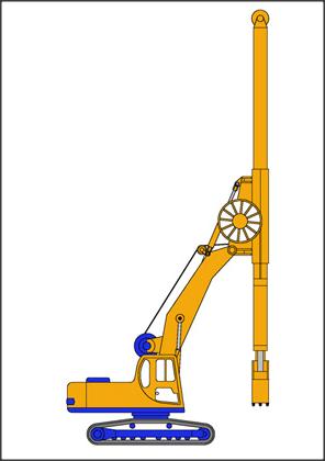 Excavación, maquinaria, cuchara, junta, ejecución, grúa auxiliar