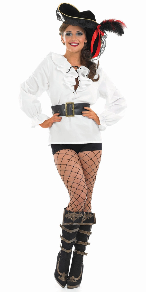 White Pirate Blouse For Women