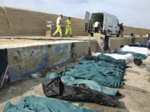 Cuerpos de los emigrantes costa Libia