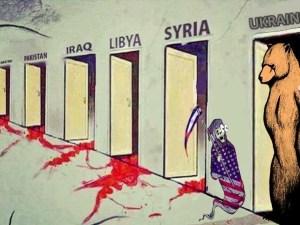 Caricatura sobre Ucrania y la injerencia estadounidense topando con Rusia