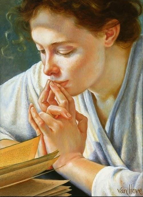 Pintura: mujer lee y reflexiona