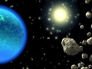 Tierra rodeada por objetos del espacio