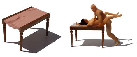 Y esta mesa anatómica El Cartero, en homenaje a la famosa escena de la película de Tay Garnett