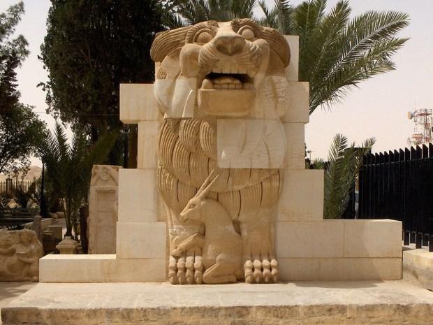 León de Al-Lat del I siglo d.C. situado en la entrada del Templo de