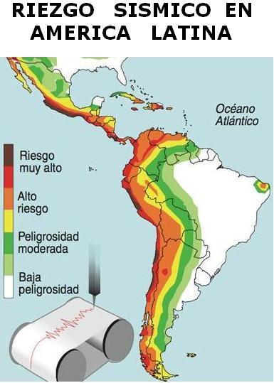 Resultado de imagen para riesgo sismico en américa latina