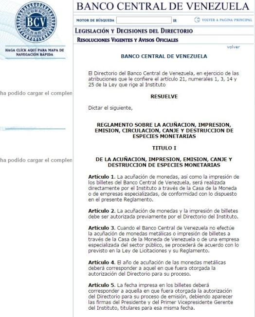 resolucion bcv