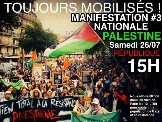 Manifestation de soutien à Gaza ce samedi 26 juillet