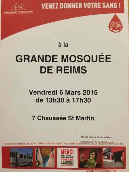 Don du sang à la Grande Mosquée de Reims vendredi 6 mars