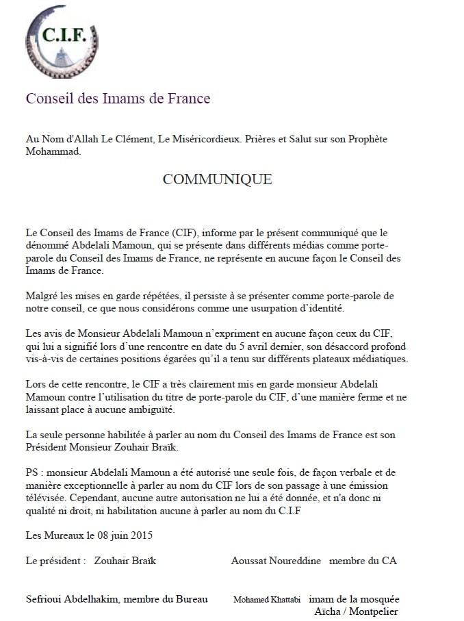 CP Conseil des Imams de France concernant Abdelali Mamoun