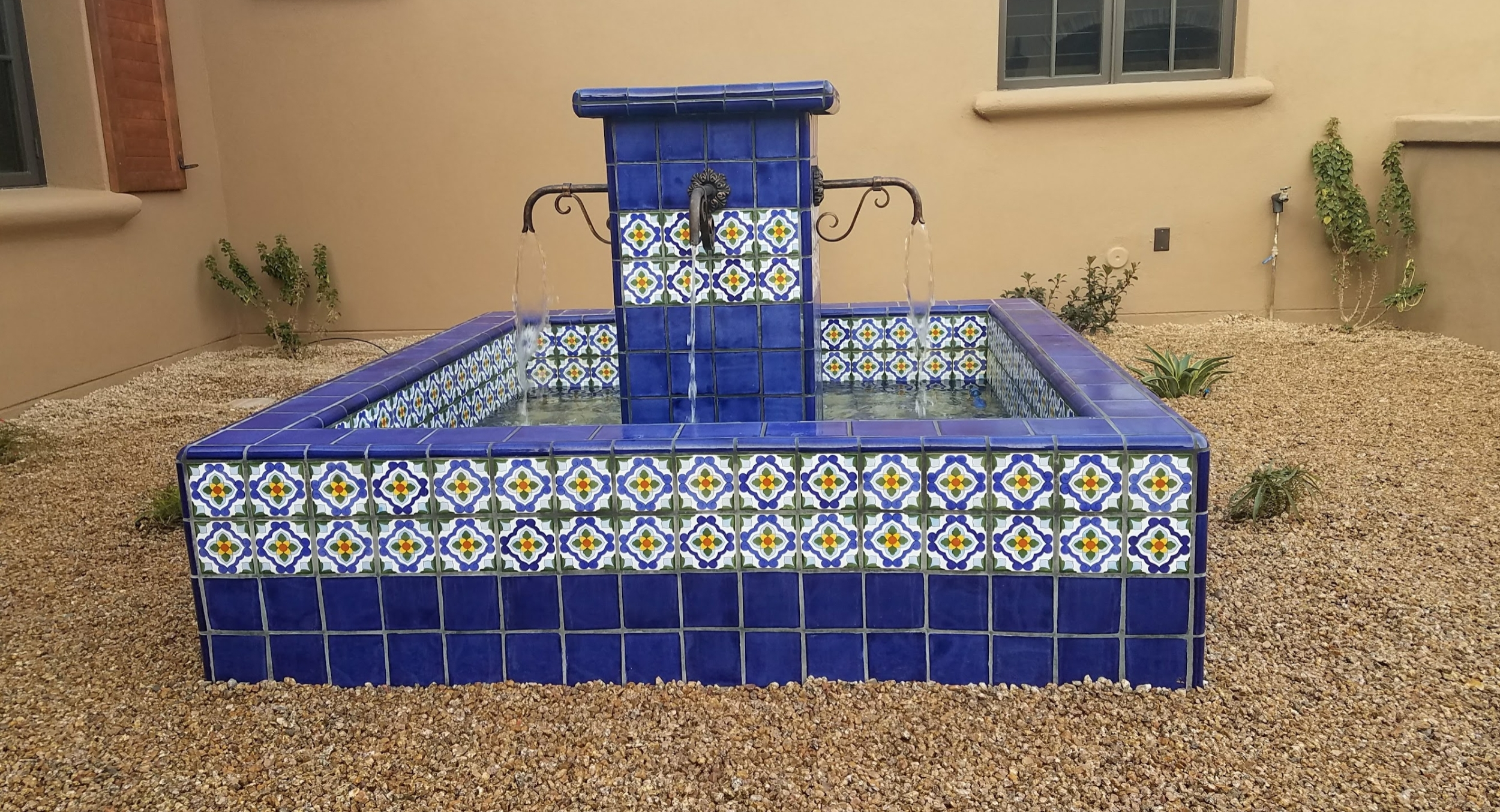 traditional tile outdoor fountains