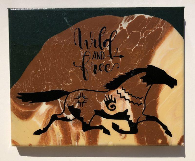 """Wild & Free"" acrylic pour painting Desert Hippie Arts"