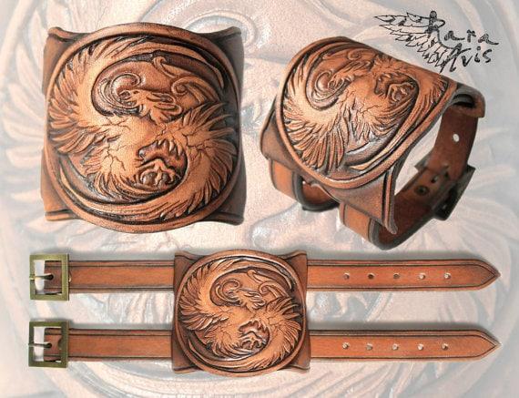 Fantasy Leather Craft - Phoenix Wrist Cuff