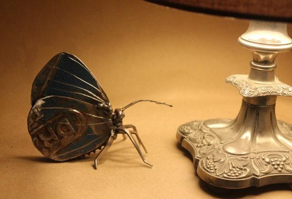 Green Hand Sculpture - Butterfly Scrap Metal