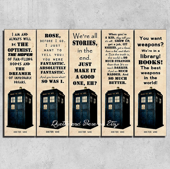 Quotes and Prose - Printable Doctor Who Bookmarks