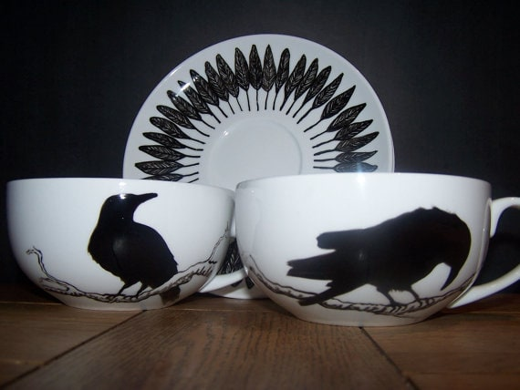 Tattoo Tea Lady - Raven cup and saucer