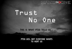 """Greyscale image of a clouded sky, presaging a storm  Text over it says """"Trust no One.  This is what PTSD tells us.  PTSD lies, not everyone wants to hurt us."""""""