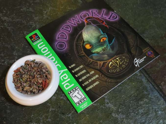 "The shot is taken from above a small white bowl and the leaflet for the game ""Oddworld."" The bowl is full of a blend of cacao nibs, freeze dried strawberries, and basil. The stone underneath is green and textured."