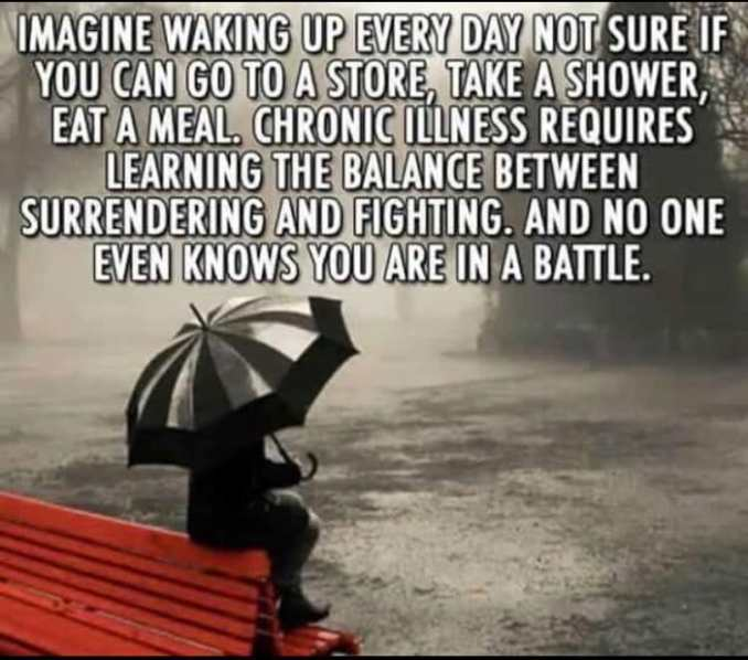 "An image of a person perched on a red bench, umbrella over them, in a deluging rain. The text is ""Image waking up every day not sure if you can go to the store, take a shower, eat a meal. Chronic illness requires learning the balance btween surrender and fighting and no one even knows you are in a battle."""