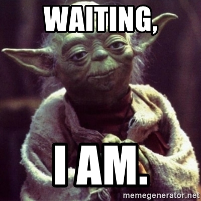 "An image of Yoda, with the text ""Waiting, I am."""
