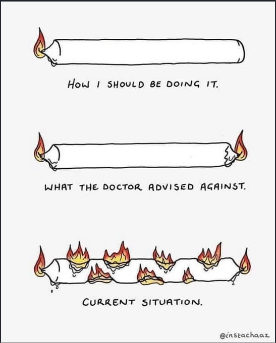 "Top image is a candle lit normally with the words ""how I should be doing it."" Middle image is a candle lit on both ends with the words ""what the doctor advised against."" Last image is a candle lit on both ends and multiple places along the top and bottom of the rest of it with the words ""current situation."""