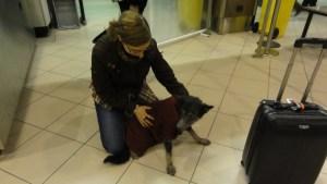 Mika avec Irina à l'aéroport de Bucarest (nuit du 1 au 2 novembre 2011)