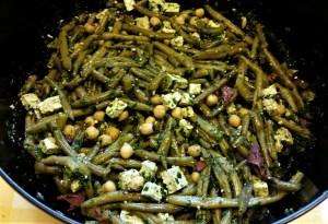 Salade de haricots verts avec tofu lactofermenté -cuisine vegan