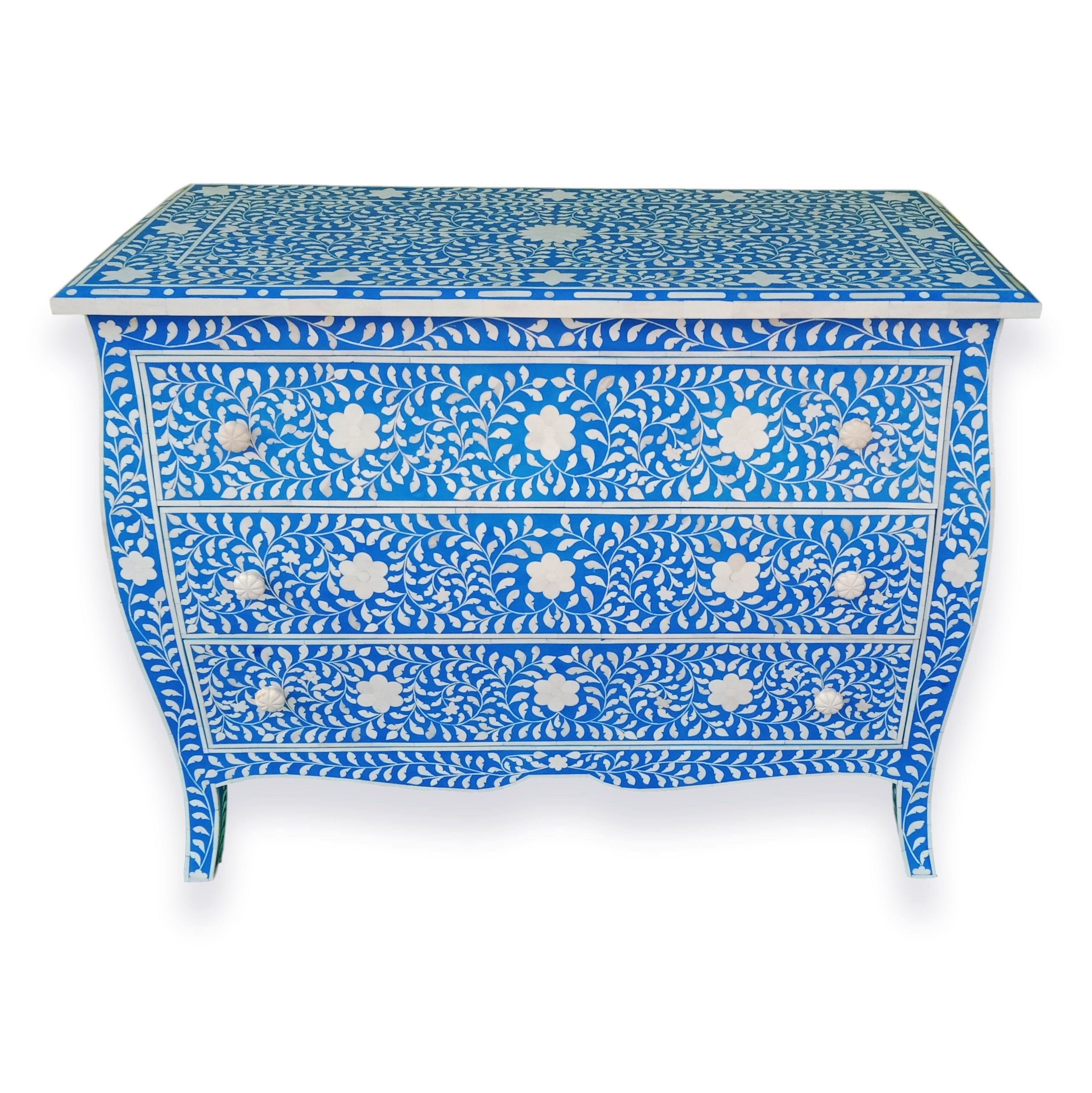 Curved French Style Bone Inlay Dresser Chest In Blue