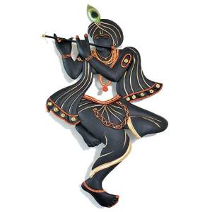 Krishna in Black Iron Wall decor Hanging