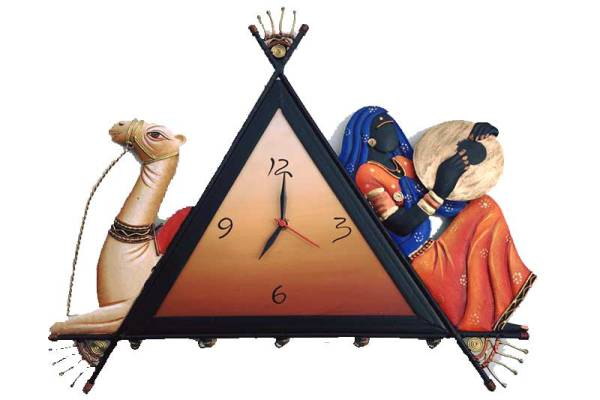 Camel lady iron wall hanging clock