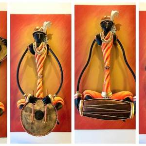 Tribal Musician Troupe Set of 4 with musical instrument