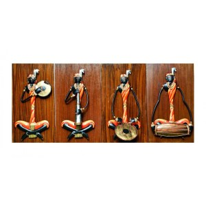 female tribal musician set of 4 iron wall hanging