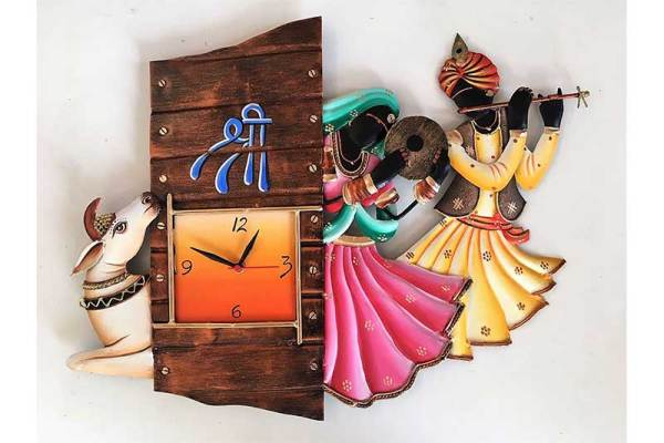 Radhe krishna cow iron wall hanging clock