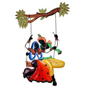Radha Krishna Jhula Wrought iron Wall hanging decor