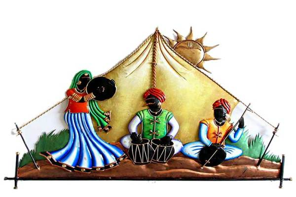 Rajasthani Troupe at dessert wrought iron wall hanging decor