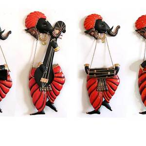 Ganesha Musician wall hanging Set of four for home decor