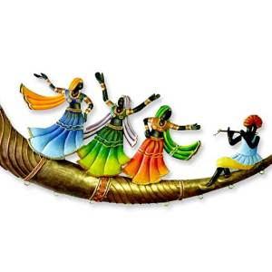 Tribal Folk Dancers on trumpet adivasi wall hanging